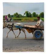 Donkey Cart Driver And Motorcycle On Pakistan Highway Fleece Blanket