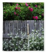 Don't Fence Me In - Wild Roses - Old Fence Fleece Blanket