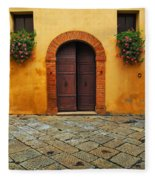 Door And Flowers In A Tuscan Courtyard Fleece Blanket