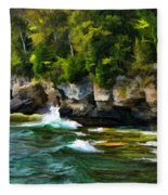 Door County Cave Point Cliffs Fleece Blanket