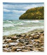 Door County Porcupine Bay Waves Fleece Blanket