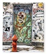 Door Mosaic Fleece Blanket