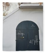 Door With Drawings Fleece Blanket