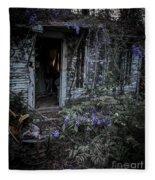 Doorway And Flowers Fleece Blanket