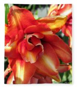 Double Asiatic Lily Named Cocktail Twins Fleece Blanket