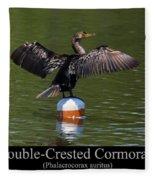 Double Crested Cormorant Fleece Blanket