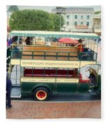 Double Decker Bus Main Street Disneyland 02 Fleece Blanket