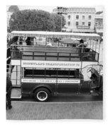 Double Decker Bus Main Street Disneyland Bw Fleece Blanket
