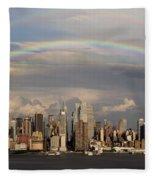 Double Rainbow Over Nyc Fleece Blanket