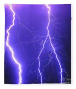 Double Triple Blue Lightning Fleece Blanket