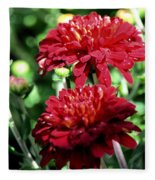 Doubled Red Mums Fleece Blanket