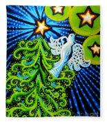 Dove And Christmas Tree Fleece Blanket