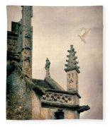 Dove Landing On Church Fleece Blanket