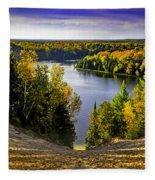 Down Hill Into Fall Fleece Blanket