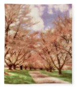 Down The Cherry Lined Lane Fleece Blanket