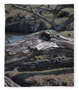 Down Tree Along Creek Fleece Blanket
