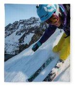 Downhill Skiier In Portillo, Chile Fleece Blanket