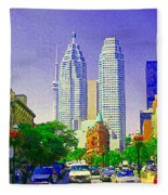 Downtown Core Flatiron Building And Cn Tower Toronto City Scenes Paintings Canadian Art Cspandau Fleece Blanket