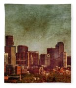 Downtown Denver Antiqued Postcard Fleece Blanket