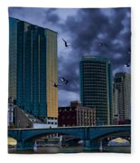 Downtown Grand Rapids Michigan By The Grand River With Gulls Fleece Blanket
