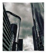 Downtown Houston Skyscrapers In Storm Fleece Blanket