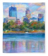 Downtown Minneapolis Skyline From Lake Calhoun Fleece Blanket