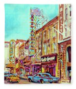Downtown Montreal Fleece Blanket