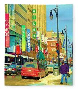 Downtown Montreal Eatons Centre Complex Les Ailes Old Navy Rue Mcgill College City Scenes  C Spandau Fleece Blanket