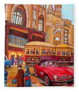Downtown Montreal-streetcars-couple Near Red Fifties Mustang-montreal Vintage Street Scene Fleece Blanket