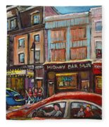 Downtown Montreal Streetscene Fleece Blanket
