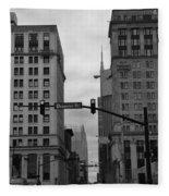 Downtown Nashville In Black And White Fleece Blanket