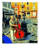 Downtown Street Musicians Perform At The Coffee Shop With Cool Tones On A Hot Summer Day Fleece Blanket