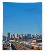 Downtown Tacoma View From The Rail Lines Fleece Blanket