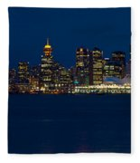 Downtown Vancouver At Night  Fleece Blanket
