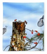 Downy And Titmouse Playing On Lichen Stump Fleece Blanket