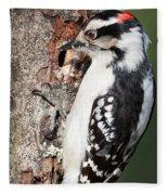 Downy Woodpecker Fleece Blanket