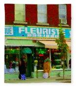 Dozen Red Roses Boutique Fleuriste Coin Vert Notre Dame Street Scene Montreal Art Carole Spandau Fleece Blanket