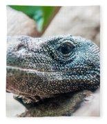 Dragon Lizzard Portrait Closeup Fleece Blanket