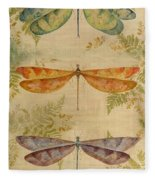 Dragonflies Among The Ferns-12415 Fleece Blanket