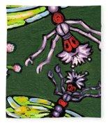 Dragonflies And Water Lilies Fleece Blanket