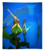 Dragonfly And Bud On Blue Fleece Blanket