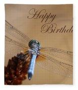 Dragonfly Birthday Card Fleece Blanket