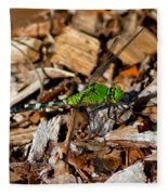Dragonfly In Mulch Fleece Blanket