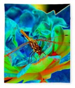 Dragonfly On A Cosmic Rose Fleece Blanket
