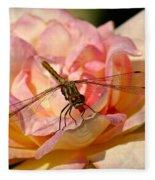 Dragonfly On A Rose Fleece Blanket