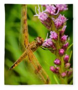 Dragonfly On Liatris Fleece Blanket