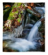 Dragons Teeth Icicles Waterfall Great Smoky Mountains Painted  Fleece Blanket