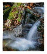 Dragons Teeth Icicles Waterfall Great Smoky Mountains  Fleece Blanket