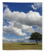 Dramatic Clouds And The Tree Fleece Blanket