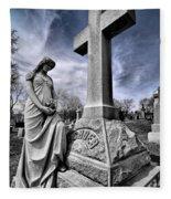 Dramatic Gravestone With Cross And Guardian Angel Fleece Blanket